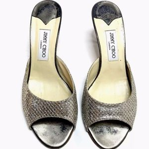 Jimmy Choo Mule Heel Pump Sandals Silver